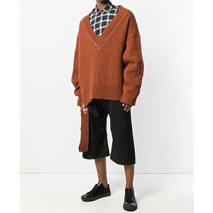 [Raf Simons] 18ss V-neck Oversize Brown sweater