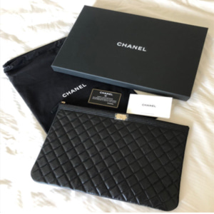 [Chanel] Boy Clutch Cavier Gold