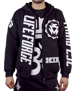 [KTZ]black and white cotton zipped sweat shirt