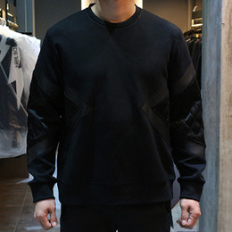 [Neil Barrett] 16fw Lather Quilting Sweatshirt PBJS334Q B514C 01