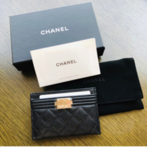 [Chanel] Boy Card Holder Caviar Black